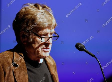 US actor and founder of the Sundance Film Festival Robert Redford speaks before the premier of the documentary 'Crip Camp' at the 2020 Sundance Film Festival in Park City, Utah, USA, 23 January 2020. The festival runs from the 23 January to 02 February 2020.