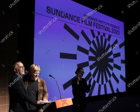 USA actor and founder of the Sundance Film Festival Robert Redford (2-L) and festival director John Cooper (L) speak before the premier of the documentary 'Crip Camp' at the 2020 Sundance Film Festival in Park City, Utah, USA, 23 January 2020. The festival runs from the 23 January to 02 February 2020.