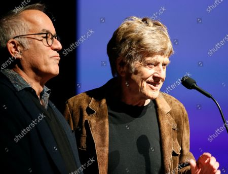 USA actor and founder of the Sundance Film Festival Robert Redford (R) and festival director John Cooper (L) speak before the premier of the documentary 'Crip Camp' at the 2020 Sundance Film Festival in Park City, Utah, USA, 23 January 2020. The festival runs from the 23 January to 02 February 2020.