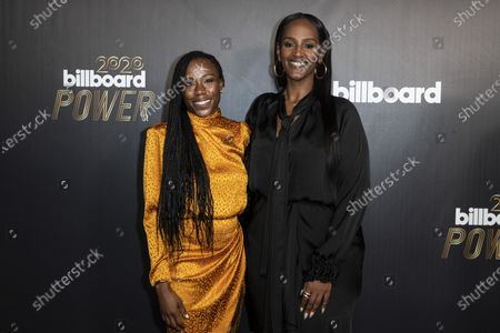 Stock Photo of Motown Records president Ethiopia Habtemariam (R) and Motown Records vice president Lindsey Lanier (L) pose on the red carpet prior to the 2020 Billboard Grammy Power 100 event in Hollywood, California, USA, 23 January 2020.