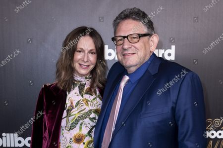 Universal Music Publishing Group CEO Jody Gerson (L) and Universal Music Group CEO Sir Lucian Grainge pose on the red carpet prior to the 2020 Billboard Grammy Power 100 event in Hollywood, California, USA, 23 January 2020.