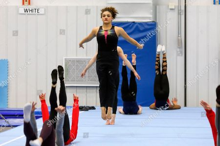 Stock Picture of Laurie Hernandez trains with other USA gymnasts in Indianapolis, . Hernandez, a two-time Olympic medalist, and other veterans in the USA Gymnastics elite program have praised the organization for taking steps to become more accountable and transparent in the wake of the Larry Nassar scandal