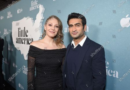 "Emily V. Gordon, Writer/ Executive Producer, and Kumail Nanjiani, Writer/ Executive Producer, at the Special Screening of Apple's ""Little America"" at the Pacific Design Center."