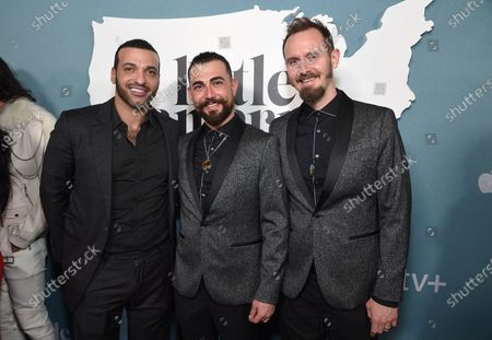 """Stock Image of Haaz Sleiman, Shadi Ismail and guest at the Special Screening of Apple's """"Little America"""" at the Pacific Design Center."""