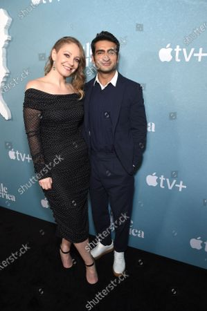 "Stock Image of Emily V. Gordon, Writer/ Executive Producer, and Kumail Nanjiani, Writer/ Executive Producer, at the Special Screening of Apple's ""Little America"" at the Pacific Design Center."