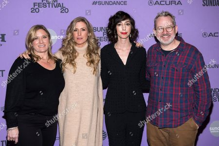 "Stock Image of Christine O'Malley, Caitrin Rogers, Lana Wilson, Morgan Neville. Christine O'Malley, left, Caitrin Rogers, Lana Wilson and Morgan Neville attend the premiere of ""Miss Americana"" at the Eccles Theater during the 2020 Sundance Film Festival, in Park City, Utah"