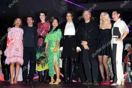 Cathy Yan, actor Chris Messina, actress Mary Elizabeth Winstead, actress Ella Jay Basco, actress Jurnee Smollett-Bell, actor Ewan McGregor, actress and producer Margot Robbie and writer Christina Hodson attend A Night of Music and Mayhem in Harleywood event, hosted by the cast of Birds of Prey (and the Fantabulous Emancipation of One Harley Quinn), at the Hollywood & Highland Center in Hollywood, Los Angeles, California, USA, 23 January 2020. The movie Birds of Prey will open in the US on 07 February 2020.