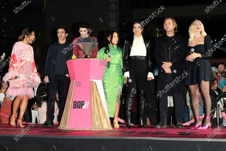 Cathy Yan, actor Chris Messina, actress Mary Elizabeth Winstead, actress Ella Jay Basco, actress Jurnee Smollett-Bell, actor Ewan McGregor, actress and producer Margot Robbie attend A Night of Music and Mayhem in Harleywood event, hosted by the cast of Birds of Prey (and the Fantabulous Emancipation of One Harley Quinn), at the Hollywood & Highland Center in Hollywood, Los Angeles, California, USA, 23 January 2020. The movie Birds of Prey will open in the US on 07 February 2020.