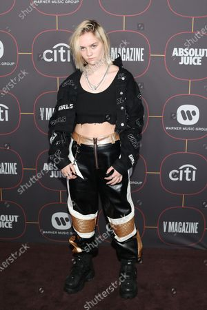 Stock Picture of US musical artist Carlie Hanson poses on the red carpet at the Warner Music Group Pre-Grammy Party, at the Hollywood Athletic Club in Los Angeles, California, USA, 23 January 2020.