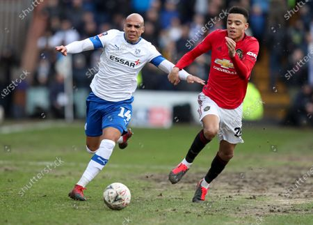 Jake Caprice of Tranmere Rovers and Mason Greenwood of Manchester United