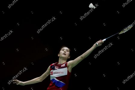 Japan's Aya Ohori in action during her women's singles quarterfinal match against Thailand's Ratchanok Intanon at the Badminton Princess Sirivannavari Thailand Masters 2020 in Bangkok, Thailand, 24 January 2020.