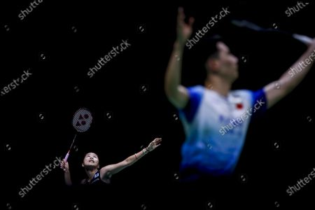Thailand's Ratchanok Intanon (L) in action against Japan's Aya Ohori during their women's singles quarterfinal match at the Badminton Princess Sirivannavari Thailand Masters 2020 in Bangkok, Thailand, 24 January 2020.