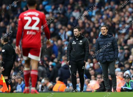26th January 2020; Etihad Stadium, Manchester, Lancashire, England; English FA Cup Football, Manchester City versus Fulham; Fulham manager Scott Parker reacts to the action from the sidelines