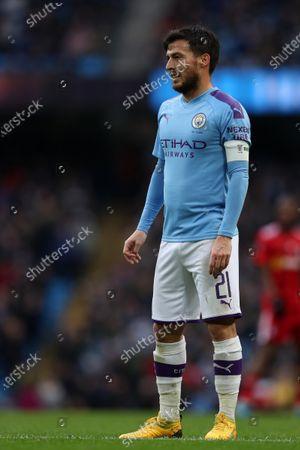 26th January 2020; Etihad Stadium, Manchester, Lancashire, England; English FA Cup Football, Manchester City versus Fulham; David Silva of Manchester City