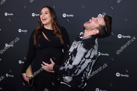Stock Image of Aijia Lise, Andy Grammer. Aijia Lise, left, and Andy Grammer arrive at the 2020 Spotify Best New Artist Party at The Lot Studios, in West Hollywood, Calif
