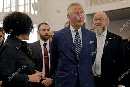 Prince Charles, and British Chief Rabbi Ephraim Mirvis (R) visit the 1736 Suriname reconstructed Tzedek ve-Shalom Synagogue at the Israel Museum in Jerusalem