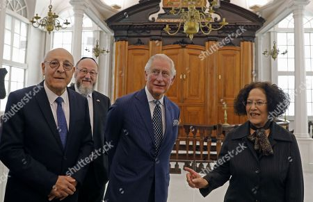 (l to R) Israel Museum Chairman Issac Molcho, British Chief Rabbi Ephraim Mirvis, and Britain's Prince Charles, visit the 1736 Suriname reconstructed Tzedek ve-Shalom Synagogue at the Israel Museum in Jerusalem