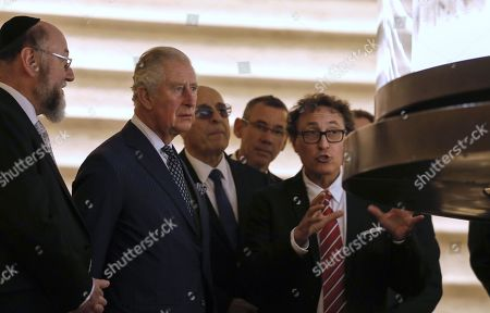 Stock Photo of (L to R) British Chief Rabbi Ephraim Mirvis and Britain's Prince Charles visit the Shrine of the Book at the Israel Museum in Jerusalem