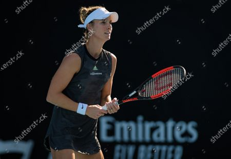 Mandy Minella of Luxembourg plays doubles at the 2020 Australian Open Grand Slam tennis tournament