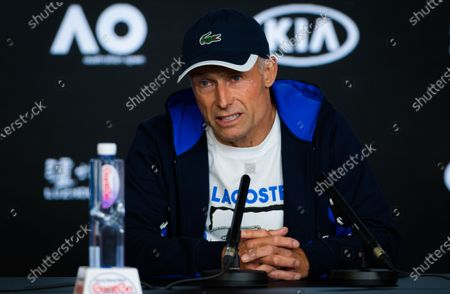 Nigel Sears, coach of Anett Kontaveit, talks to the media at the 2020 Australian Open Grand Slam tennis tournament