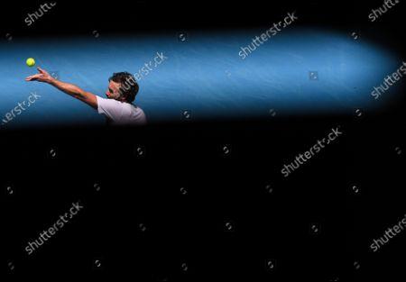Ernests Gulbis in action during his Men's Singles Third Round match
