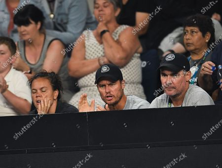 Lleyton Hewitt watches Nick Kyrgios in action during his Men's Singles Third Round match