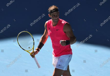 Rafael Nadal celebrates victory after his Men's Singles Third Round match against Pablo Carreno Busta