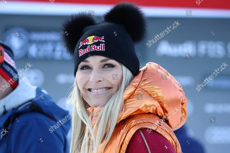Stock Photo of Former ski star Lindsey Vonn, of United States, smiles at the finish area during an alpine ski, men's World Cup super G, in Kitzbuehel, Austria