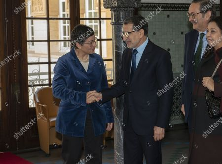 Head of government of Morocco Saadeddine Othmani (2-L) welcomes Spanish Foreign Minister Arancha Gonzalez (L), during their meeting at the Prime Ministry building in Rabat, Morocco, 24 January 2020. Gonzalez is on an official visit to Morocco.