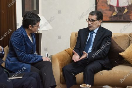 Head of government of Morocco Saadeddine Othmani (R) welcomes Spanish Foreign Minister Arancha Gonzalez (L), during their meeting at the Prime Ministry building in Rabat, Morocco, 24 January 2020. Gonzalez is on an official visit to Morocco.