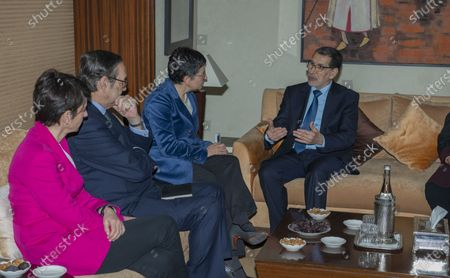 Head of government of Morocco Saadeddine Othmani (R) talks with Spanish Foreign Minister Arancha Gonzalez (2-R), during their meeting at the Prime Ministry building in Rabat, Morocco, 24 January 2020. Gonzalez is on an official visit to Morocco.