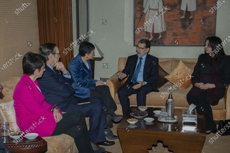Stock Image of Head of government of Morocco Saadeddine Othmani (2-R) talks with Spanish Foreign Minister Arancha Gonzalez (C), during their meeting at the Prime Ministry building in Rabat, Morocco, 24 January 2020. Gonzalez is on an official visit to Morocco.