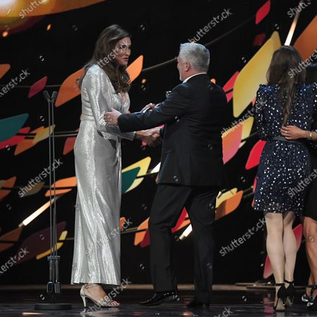 Exclusive - Caitlyn Jenner presents the Challenge award 'The Great British Bake Off' to Paul Hollywood