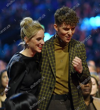 Exclusive - Sophie Rundle and Harry Kirton collecting Drama Performance on behalf of Cillian Murphy