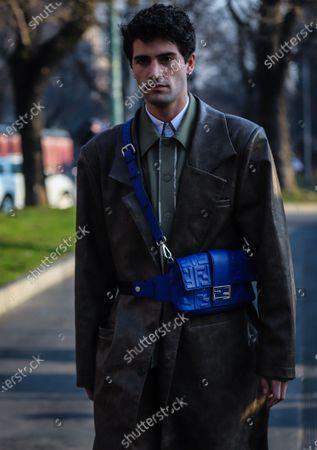 Editorial photo of Street Style, Autumn Winter 2020, Milan Fashion Week Men's, Italy - 13 Jan 2020