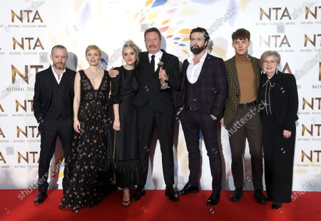 Stock Picture of Sophie Rundle, Steven Knight, Emmett J Scanlan and Harry Kirton - Drama Award - 'Peaky Blinders'