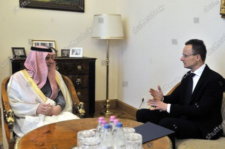 Saudi Minister of State for Foreign Affairs Adel al-Jubeir (L) listens to Hungarian Minister of Foreign Affairs and Trade Peter Szijjarto during their meeting in the latter's office in Budapest, Hungary, 24 January 2020.