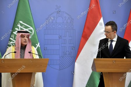 Saudi Minister of State for Foreign Affairs Adel al-Jubeir (L) speaks during his joint press conference with Hungarian Minister of Foreign Affairs and Trade Peter Szijjarto following their talks in the latter's office in Budapest, Hungary, 24 January 2020.