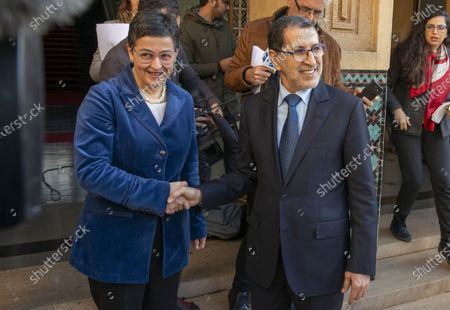 Morocco's Prime Minister Saadeddine Othmani (R) and Spain's Minister of Foreign Affairs, European Union and Cooperation, Arancha Gonzalez (L) during their meeting in Rabat, Morocco, 24 January 2020. Gonzalez is on an official visit to Morocco.