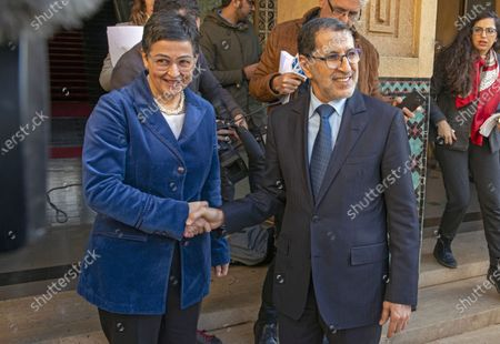 Stock Picture of Morocco's Prime Minister Saadeddine Othmani (R) and Spain's Minister of Foreign Affairs, European Union and Cooperation, Arancha Gonzalez (L) during their meeting in Rabat, Morocco, 24 January 2020. Gonzalez is on an official visit to Morocco.