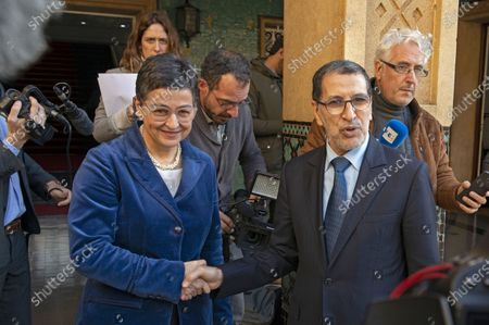 Stock Photo of Morocco's Prime Minister Saadeddine Othmani (R) and Spain's Minister of Foreign Affairs, European Union and Cooperation, Arancha Gonzalez (L) during their meeting in Rabat, Morocco, 24 January 2020. Gonzalez is on an official visit to Morocco.