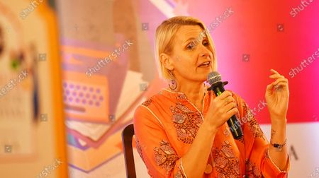 Elizabeth Gilbert speaks during 'From Eat, Pray, Love to City of Girls' session during the inaugural day of Zee Jaipur Literature Festival 2020, at Hotel Diggi Palace
