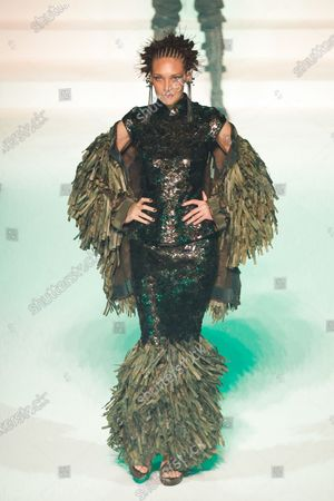Stock Picture of Chrystele Saint Louis Augustin on the catwalk