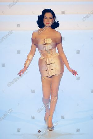 Dita Von Teese on the catwalk