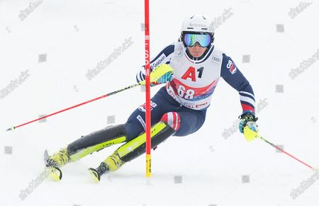 Laurie Taylor of Great Britain finishes in 24th position during the Mens Slalom Kitzbuhel