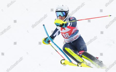 Laurie Taylor (GBR) in action in the Mens Slalom in Kitzbuhel Austria finishing in 24th position