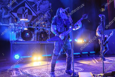 Robb Flynn (L) and Jared MacEachern (R) perform in concert with Machine Head on the Burn My Eyes 25th Anniversary Tour at The Aztec Theatre