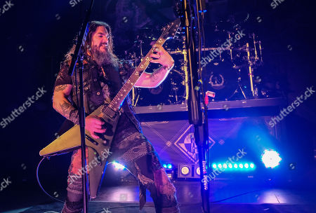 Robb Flynn performs in concert with Machine Head on the Burn My Eyes 25th Anniversary Tour at The Aztec Theatre