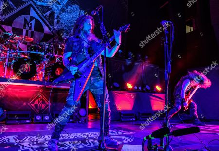 Stock Picture of Robb Flynn (L) and Jared MacEachern (R) perform in concert with Machine Head on the Burn My Eyes 25th Anniversary Tour at The Aztec Theatre