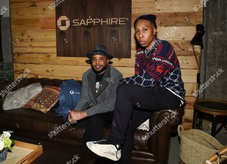 """Justin Simien, Lena Waithe. IMAGE DISTRIBUTED FOR CHASE SAPPHIRE - Director Justin Simien, left, and actor Lena Waithe at the """"Bad Hair"""" after party at Chase Sapphire on Main during the Sundance Film Festival 2020, in Park City, Utah"""